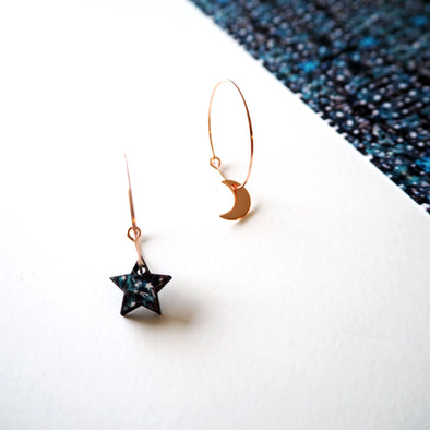 Rose Gold Moon & Star Hoop Earrings