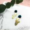 Statement Gold Cactus Drop Earrings