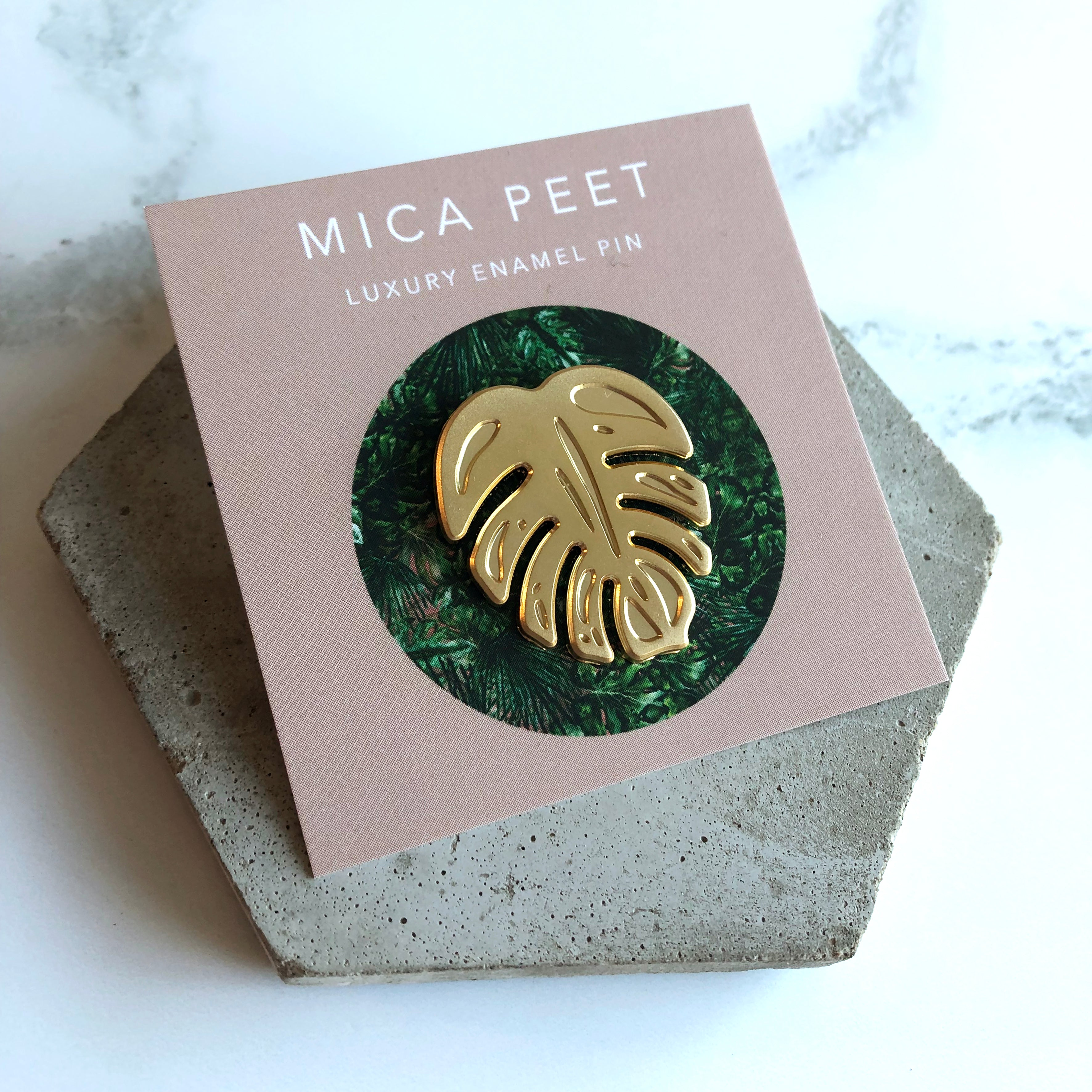 728c468b8 Gold Monstera Enamel Pin – Mica Peet