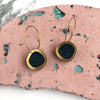 Geometric Circle Hoop Earrings - Petrol Blue & Brass
