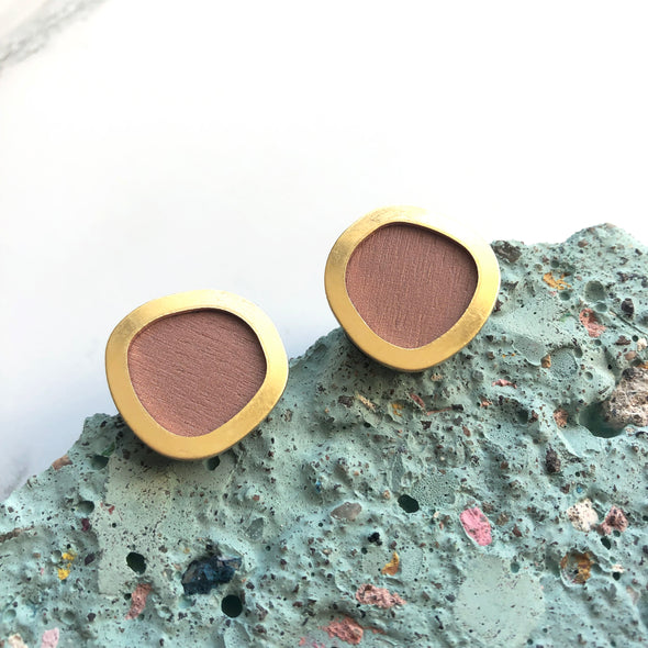 Pink & Gold Circle Stud Earrings