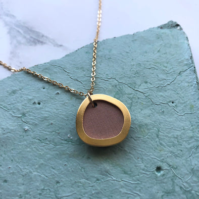 Simple Pink & Gold Circle Necklace