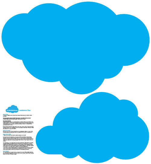 2 Pack Large Cloud Wall Decals Blue