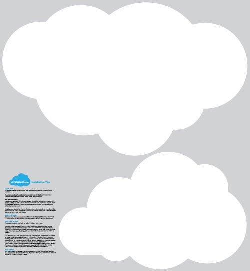 2 Pack Large Cloud Wall Decals White