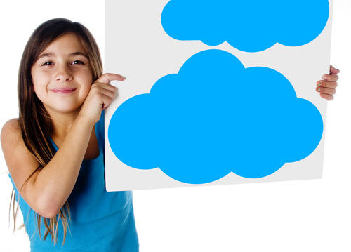 Girl Holding Clouds