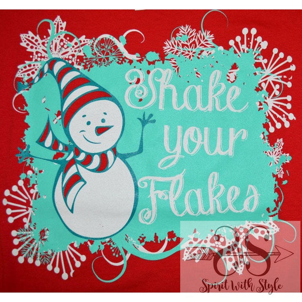 158H - Shake Your Flakes Christmas Christmas T Christmas tshirt custom glitter graphic graphic t graphic t-shirt graphic tee Merry Christmas shake your flakes snow flakes snowman soft t spirit with style stay styled t-shirt tee wholesale