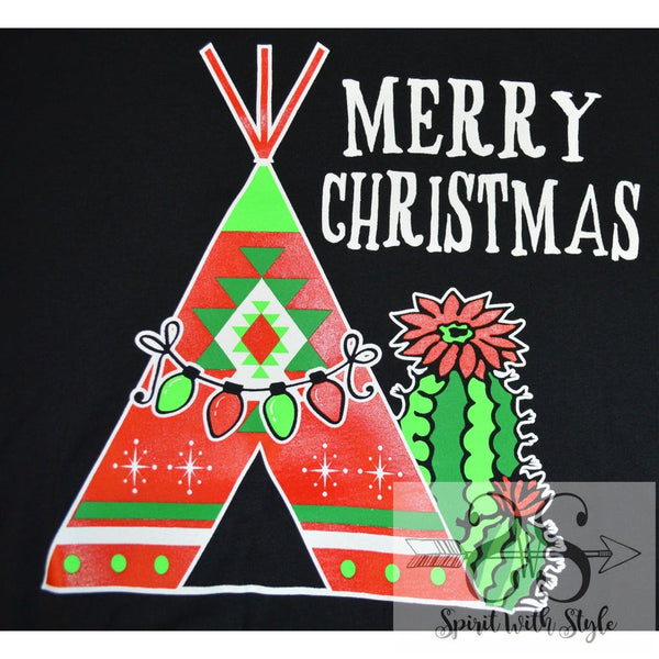 160H - Teepee cactus Christmas Christmas lights Christmas T Christmas tree Christmas tshirt custom glitter graphic graphic t graphic t-shirt graphic tee Merry Christmas spirit with style stay styled t-shirt tee teepee vneck wholesale