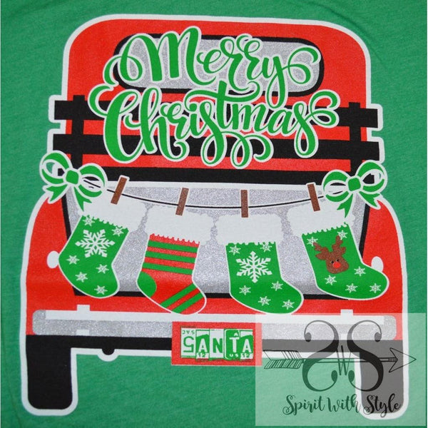 163H - Truck with Stockings Christmas Christmas T Christmas tshirt custom glitter graphic graphic t graphic t-shirt graphic tee hung Merry Christmas old truck soft t spirit with style stay styled stokings t-shirt tee truck vintage wholesale