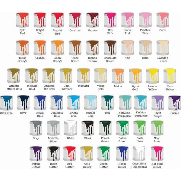 Available Screen Printing Colors - Spirit With Style