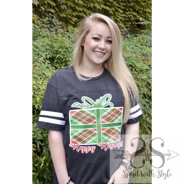 H135 - Plaid Present Christmas Christmas T Christmas tshirt custom glitter graphic graphic t graphic t-shirt graphic tee Happy Holidays Merry Christmas plaid present spirit with style stay styled striped sleeves t-shirt tee tshirt wholesale
