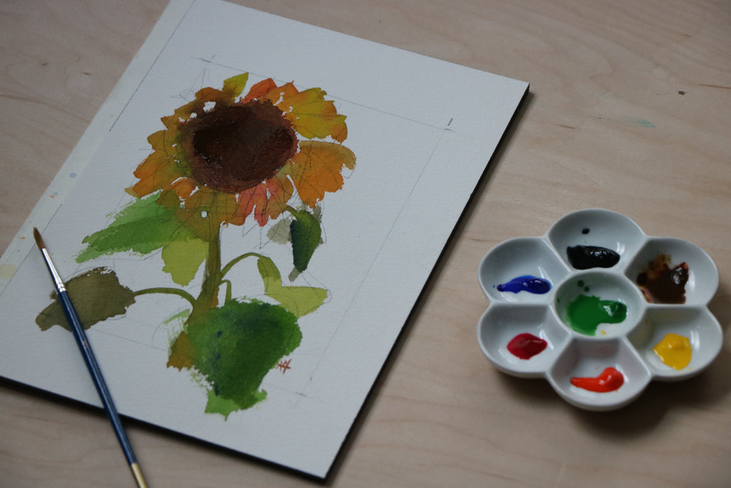 Sunflower Watercolor Speedpainting with Voiceover Video