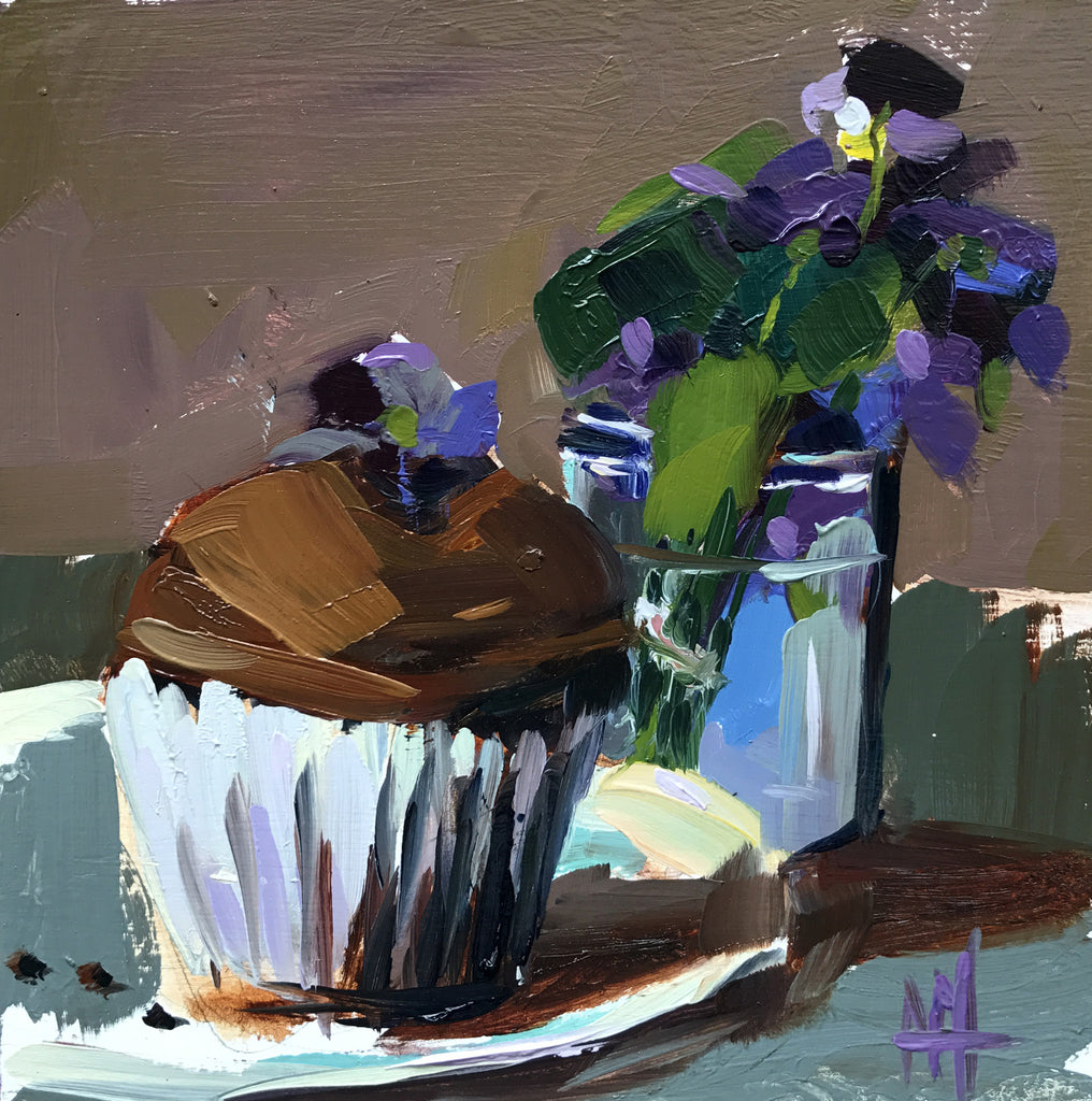 Chocolate Cupcakes with Sugared Violets