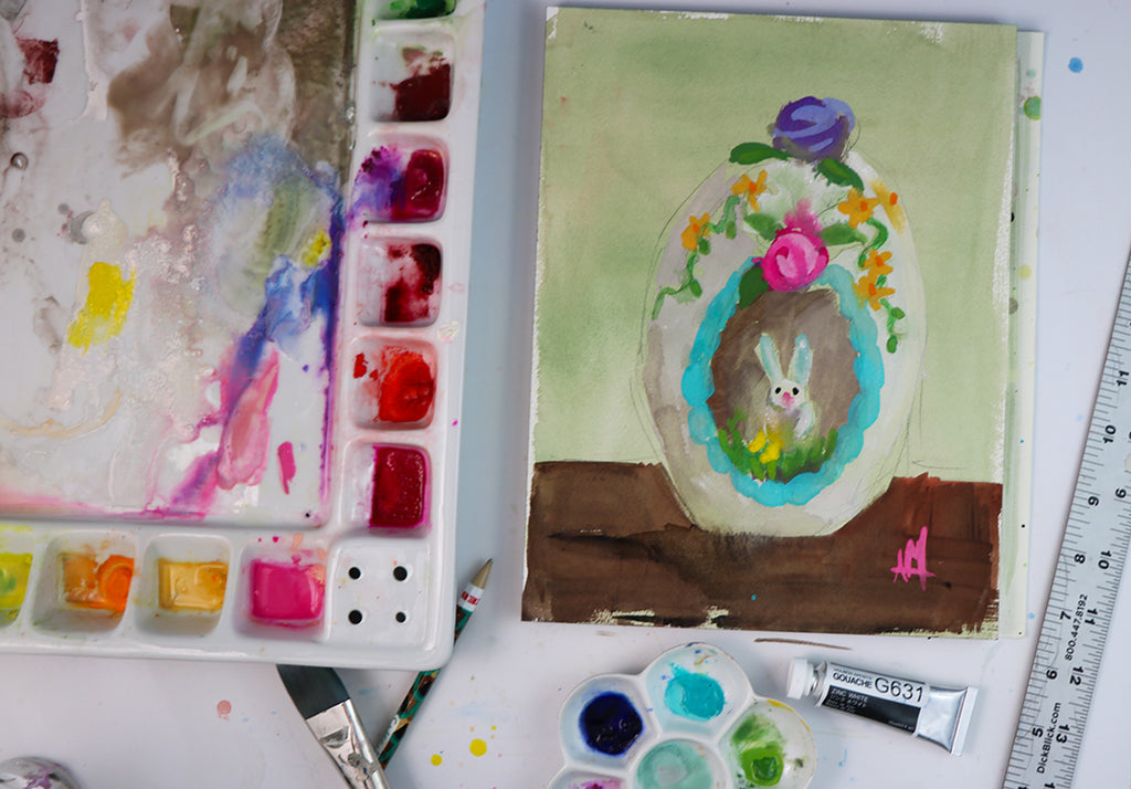 Painting a Sugar Egg in Gouache