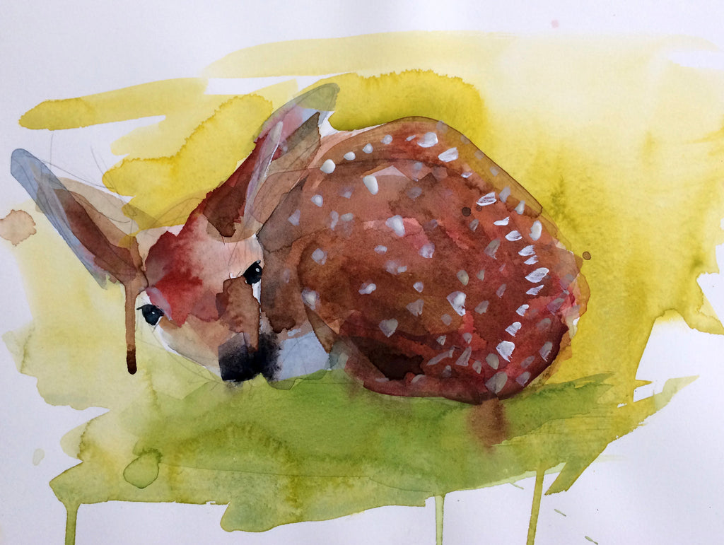 Baby Fawn Watercolor Painting