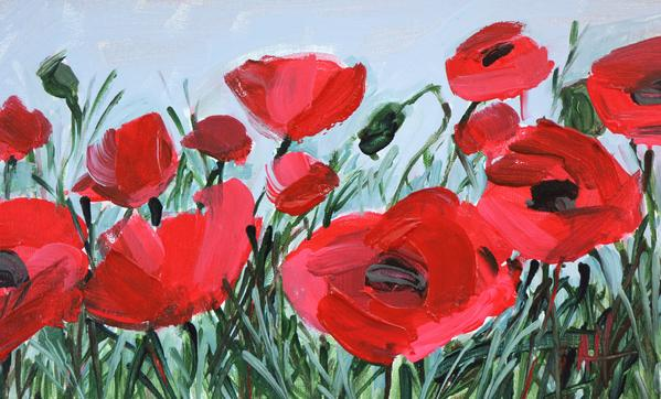 Red Poppies in Acrylic Paint