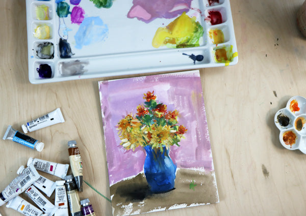 Painting Flowers with Gouache Paint