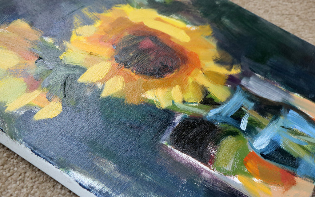 Making of Sunflowers in Blue Vase Oil Painting Part 2