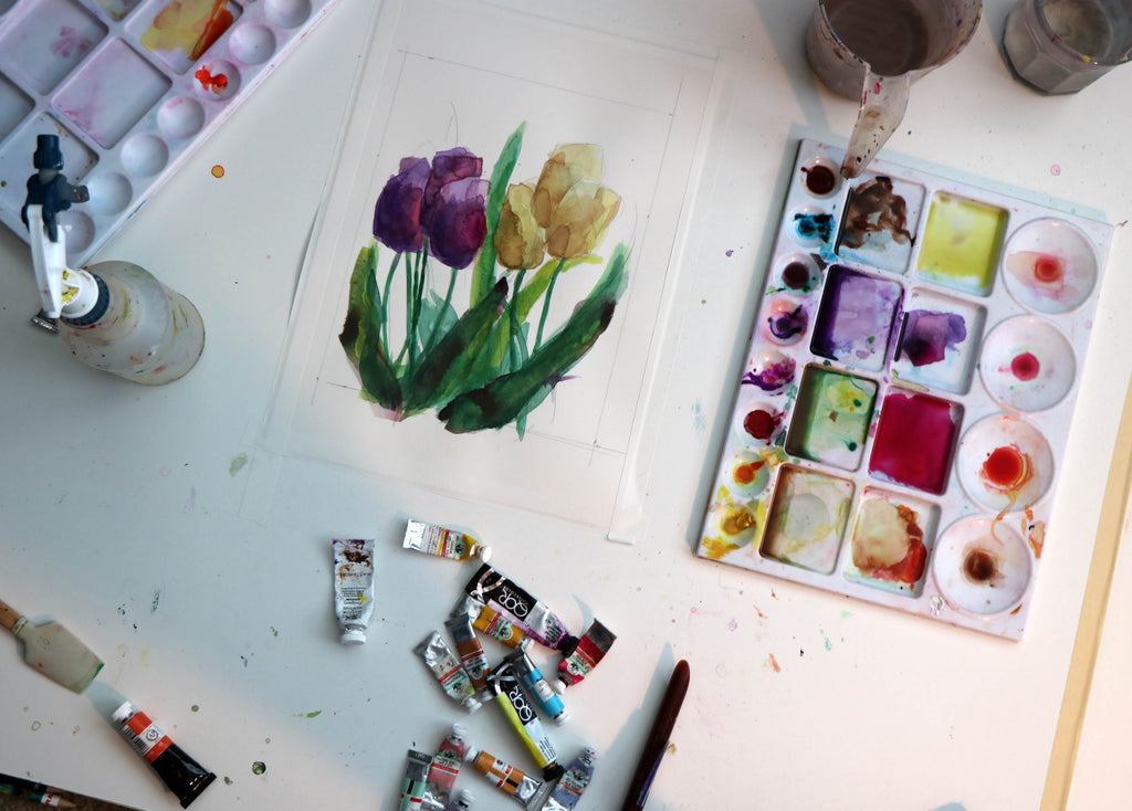 Painting Watercolor Tulips