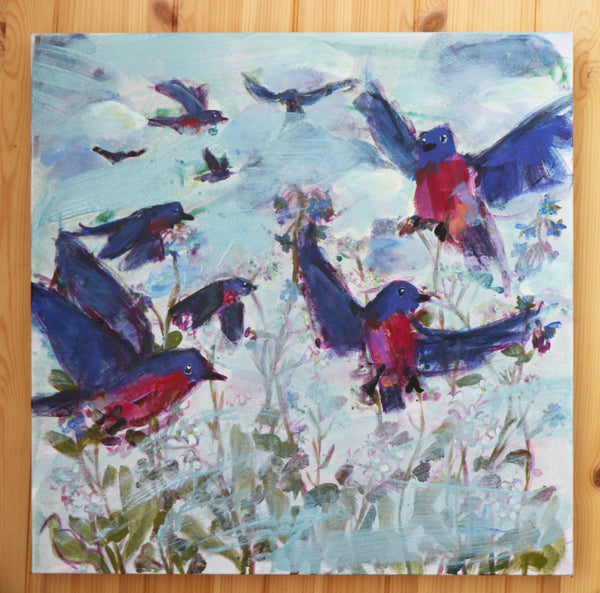 Bluebird Flock and Wildflowers Original Acrylic Painting Angela Moulton