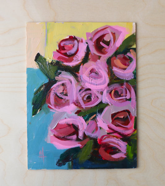 Bunch of Roses on Table Original Oil Painting Angela Moulton