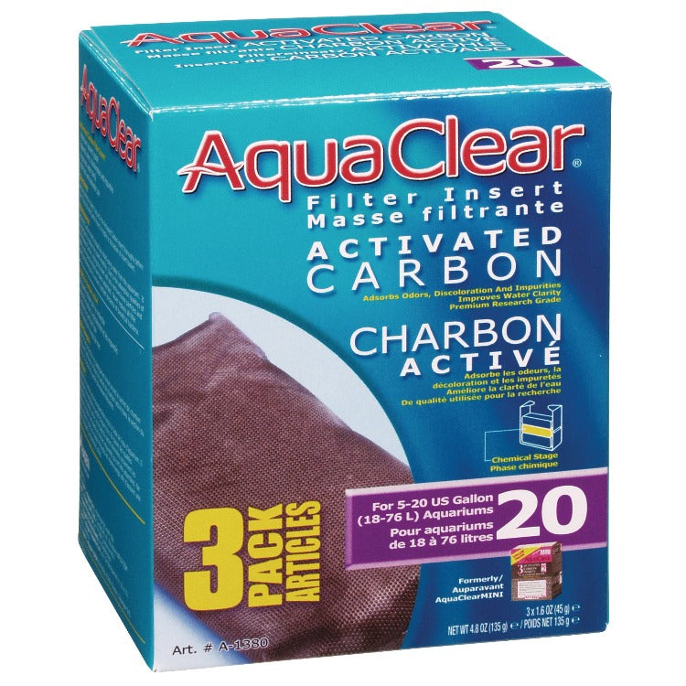 AquaClear 20 Activated Carbon 3 Pack A1380 A-1380 Charcoal FLuval a 1380 015561113809