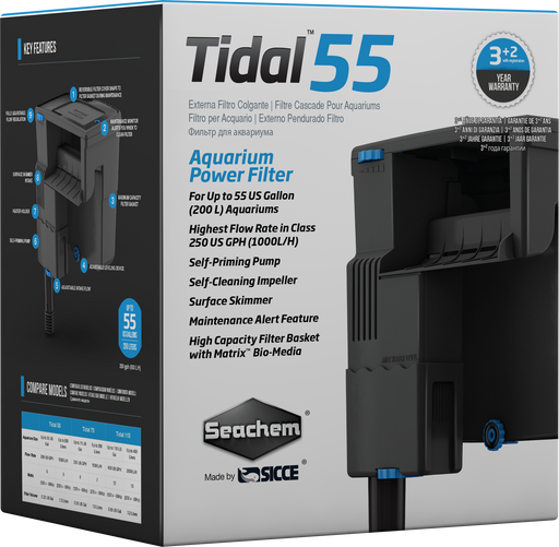 6500 Seachem Tidal Sicce backfiltr filter back power powerfilter