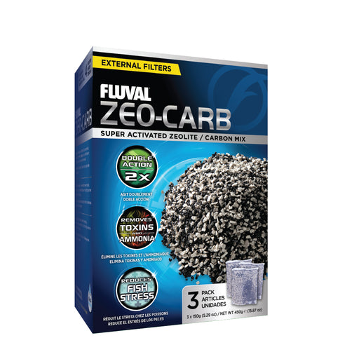 A-1490 A1490 015561114905 Fluval Canister Filter Zeo-Carbon 3 x 100 gm Packs Zeo-carb 106 107 206 207 307 306 406 407 fx4 fx6