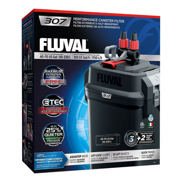 A446 015561104463 fluval 307 performance canister filter under tank stand in cabinet