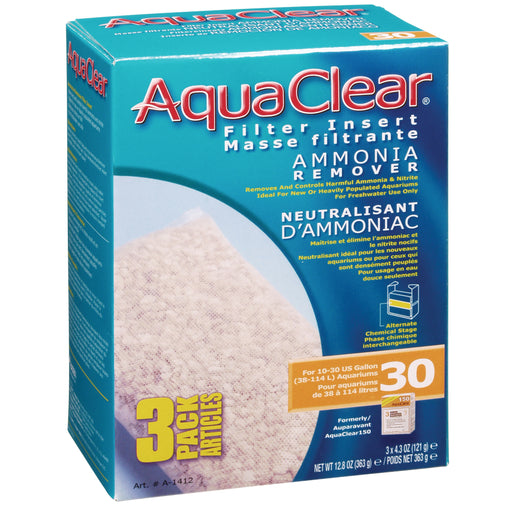 Fluval AquaClear 30 Backfilter 015561114127 Ammonia Remover 3/pk A-1412 A1412
