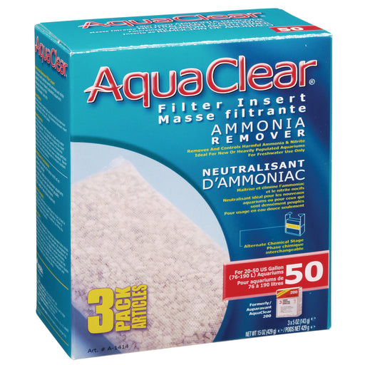 Fluval AquaClear 50 Backfilter Ammonia Remover 3/pk