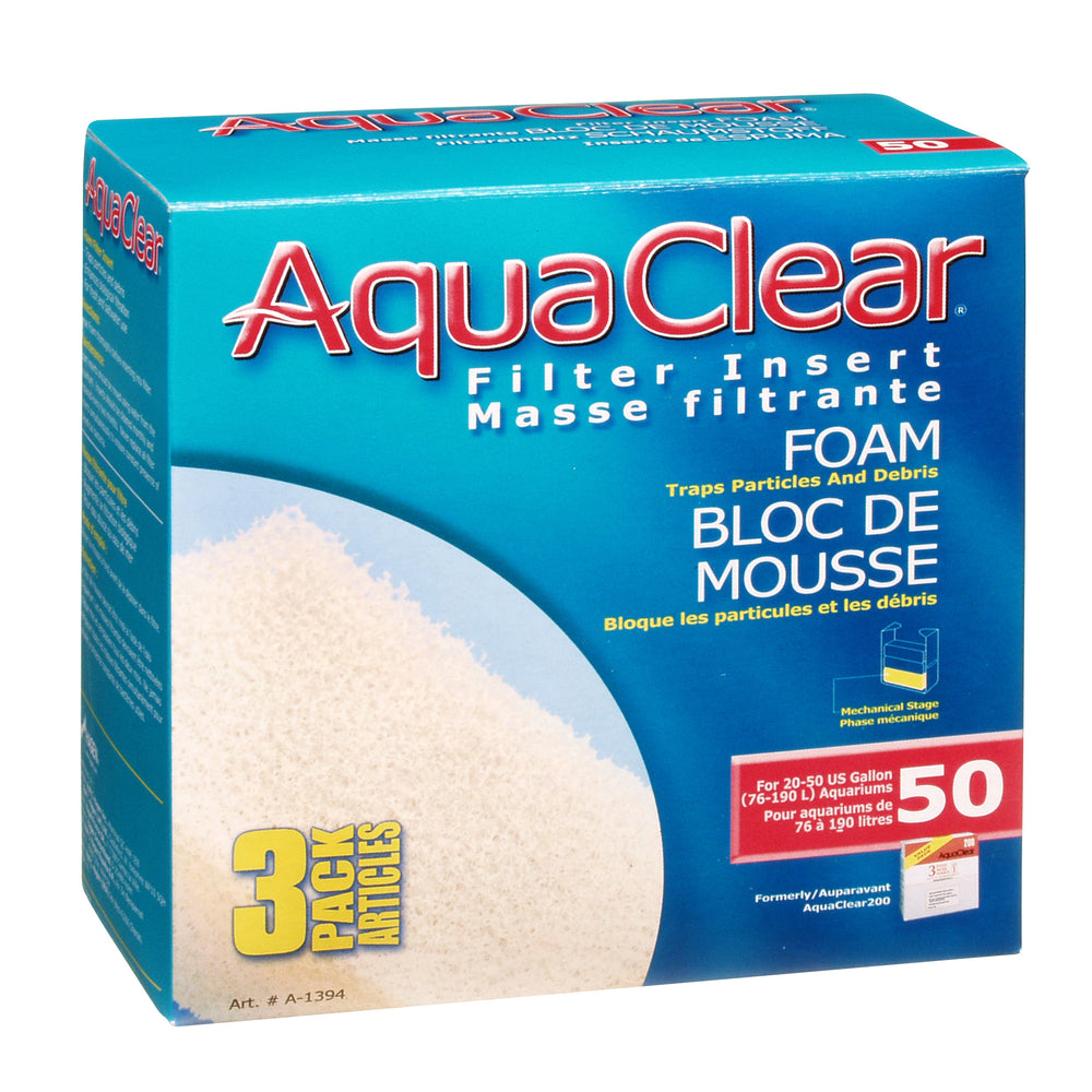 Fluval AquaClear 50 Backfilter Foam Filter  015561113946 Insert 3/pk A-1394 A1394