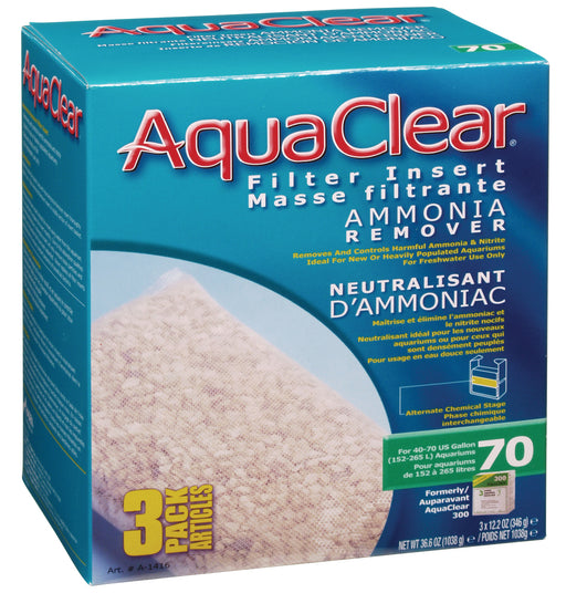 Fluval AquaClear 70 Backfilter Ammonia Remover 3/pk A-1416 A1416 015561114165