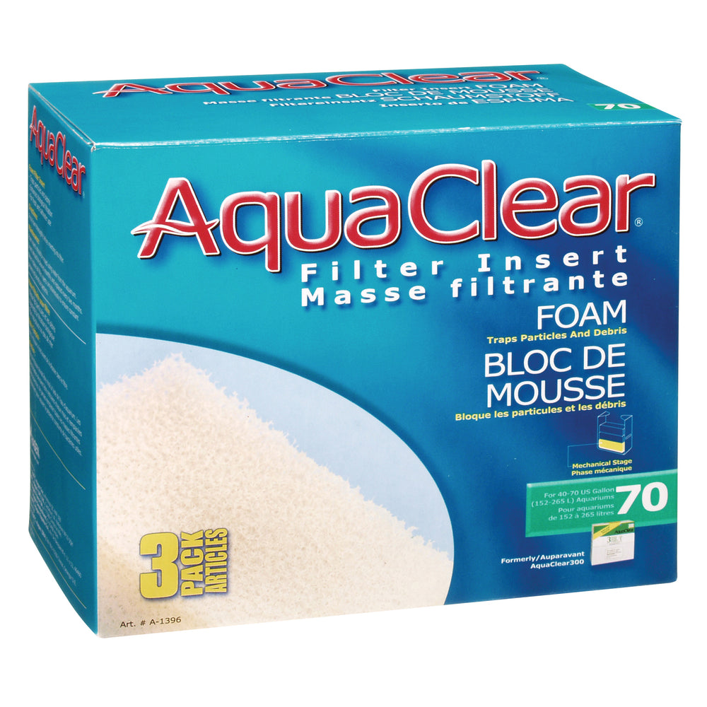 015561113960 Fluval AquaClear 70 Backfilter Foam Filter Insert 3/pk A-1396 A1396