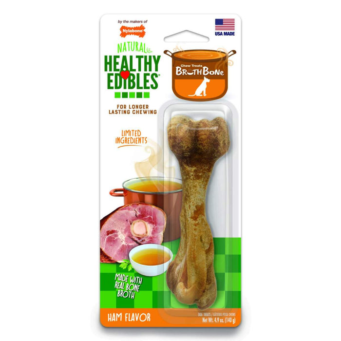 Healthy Edibles Ham Broth Bone Dog Chew Treats - Large