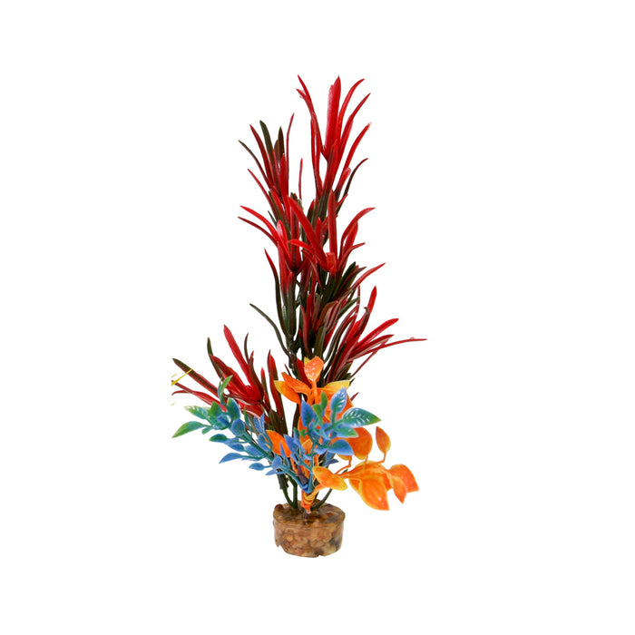 030157014261 CB-2006-rd red aquarium fish tank artificial Blue Ribbon Pet Productsfake Color Burst Florals Gravel Base Bush Plant