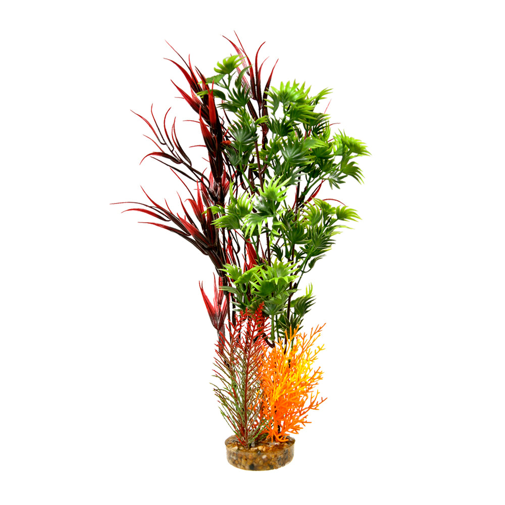 ColorBurst Florals Gravel Base Plant - Wild Mountain - Red Blue ribbon pet products aquarium fish tank plastic weeds CB-2014-rd  030157014223