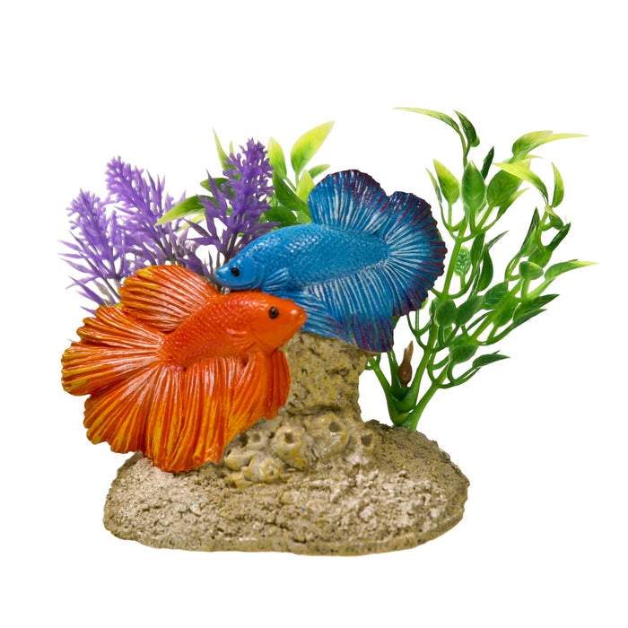 030157018801 EE-1116 EE1116 Exotic Environments Aquatic Scene with Bettas Ornament Fish tank decoration beta betas