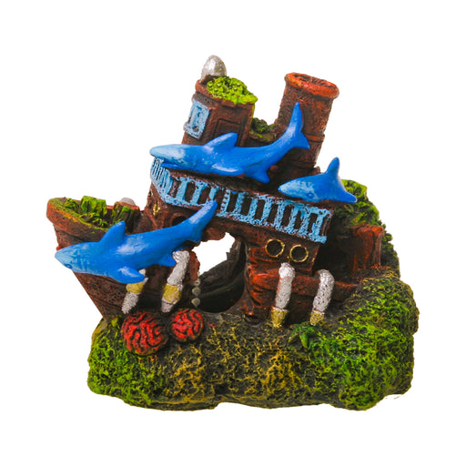 030157019549 EE-1906 Exotic Environments Shark Shipwreck Ornament Blue Ribbon Pet Products Aquarium Decoration