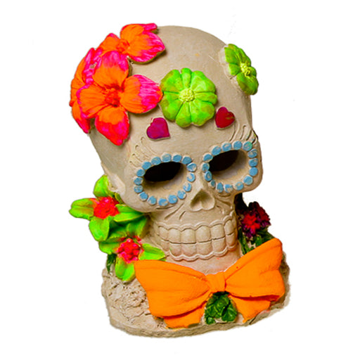 030157019624 Exotic Environments Sugar Skull Flower Glow Ornament Aquarium Decoration Terrarium EE-1914