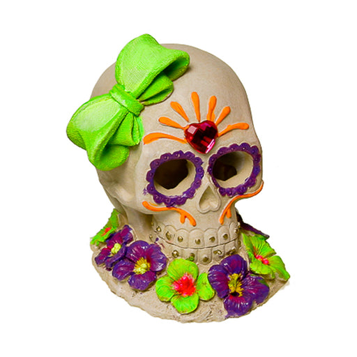 030157019631 Exotic Environments Sugar Skull Gem & Bow Glow Ornament EE-1915 Blue Ribbon Pet Products
