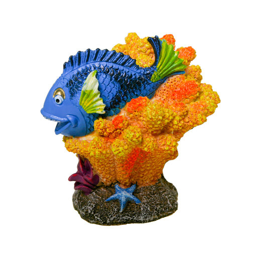 EE-1916  Exotic Environments Relaxing Tang Ornament Blue Ribbon Pet Products Blue Hippo Tang decoration  030157019648