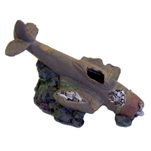 030157015848 Exotic Environments Sunken WWII Plane with Cave Aquarium Ornament EE-270 Blue Ribbon Pet Products