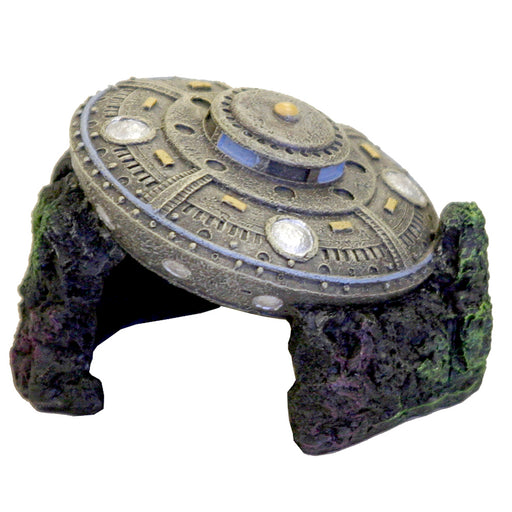 Exotic Environments Sunken UFO w / Cave Ornament EE-273 Aquarium decoration  030157015909