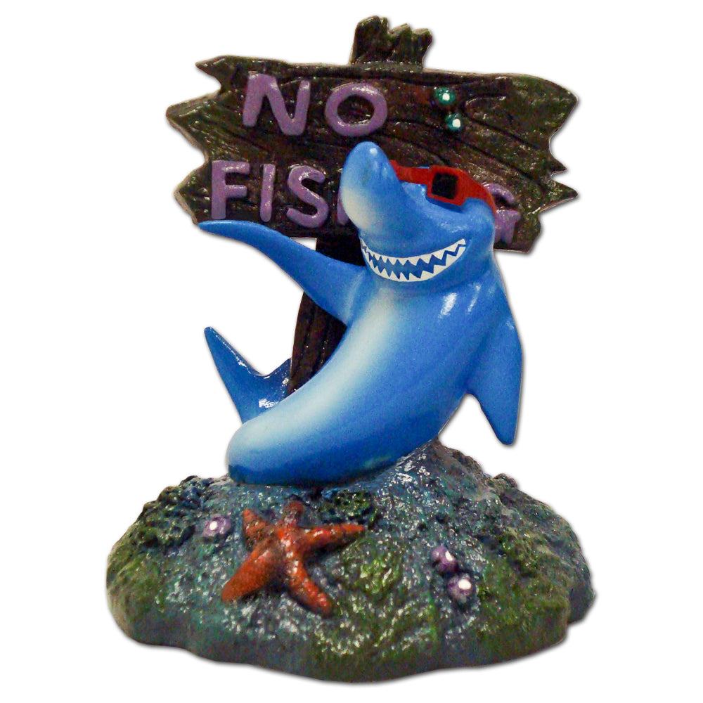 030157003333 Exotic Environments No Fishing Sign w/ Cool Shark Ornament Aquarium Fish Tank Blue Ribbon Pet Products decoration
