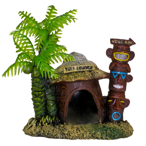 030157016746 EE528 EE-528 Exotic Environments Betta Hut with Palm Tree Ornament Blue Ribbon Pet Products  Tiki Lounge