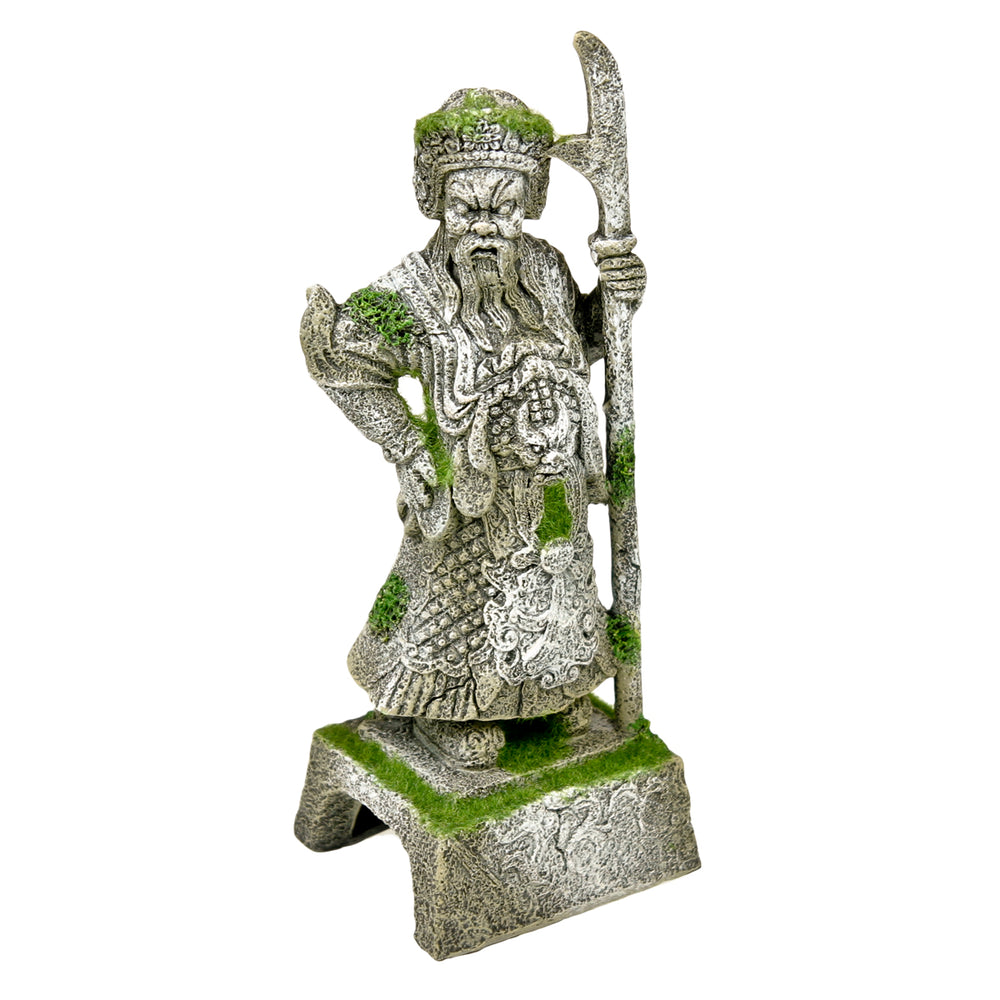 030157018474 EE-695 EE695 V Aquarium Fish Tank Decoration Blue RIbbon Exotic Environments Thai Warrior Statue with Moss Ornament