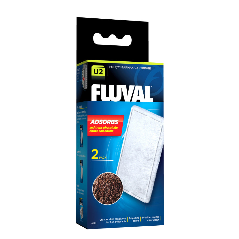 015561104814 A-481 A481 Fluval U2 Underwater Filter Poly Clearmax Cartridge - 2 Pack poly/clearmax