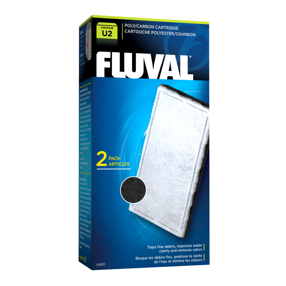 Fluval U2 Underwater Filter Poly Carbon Cartridge - 2 Pack charcoal A-490 A490  015561104906