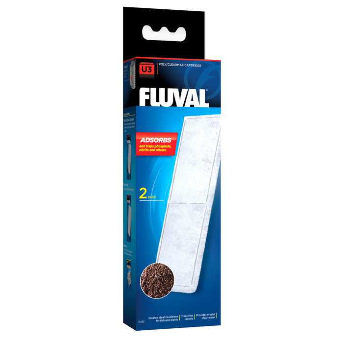 015561104821 A-482 A482 Fluval U3 Underwater Filter Poly Clearmax Cartridge - 2 Pack poly/clearmax