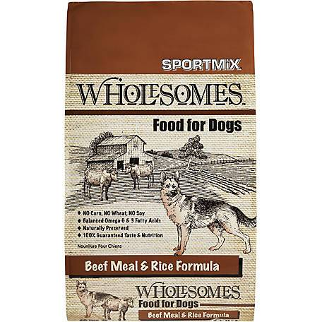 wholesomes sportmix sport mix whole somes dog food beef meal and rice dog diet